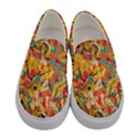 Dark Yellow Elegant Flowers Women s Canvas Slip Ons View1