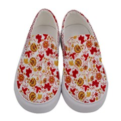 Yellow & Red Elegant Flowers Women s Canvas Slip Ons by PattyVilleDesigns