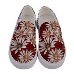 Maroon & White Cosmos Flowers Women s Canvas Slip Ons by PattyVilleDesigns
