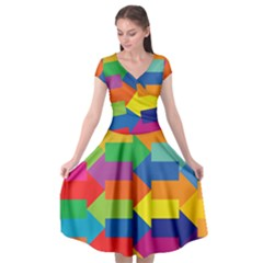 Arrow Rainbow Orange Blue Yellow Red Purple Green Cap Sleeve Wrap Front Dress by Mariart