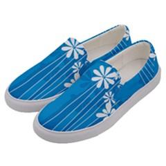 Flower Blue Men s Canvas Slip Ons by Mariart