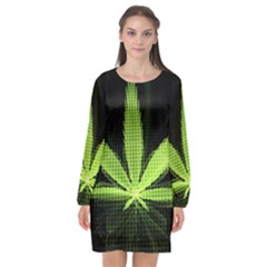 Marijuana Weed Drugs Neon Green Black Light Long Sleeve Chiffon Shift Dress