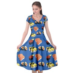 Sushi Pattern Cap Sleeve Wrap Front Dress by Valentinaart