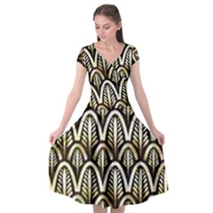 Art Deco Gold Black Shell Pattern Cap Sleeve Wrap Front Dress by 8fugoso