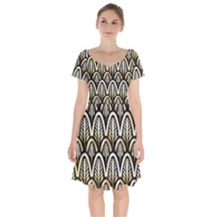 Art Deco Gold Black Shell Pattern Short Sleeve Bardot Dress by 8fugoso