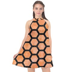 Hexagon2 Black Marble & Orange Watercolor Halter Neckline Chiffon Dress  by trendistuff