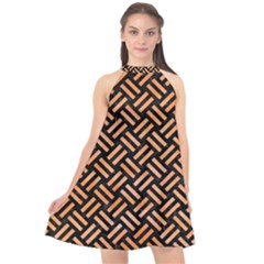 Woven2 Black Marble & Orange Watercolor (r) Halter Neckline Chiffon Dress  by trendistuff