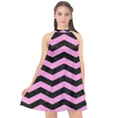 Chevron3 Black Marble & Pink Colored Pencil Halter Neckline Chiffon Dress  by trendistuff