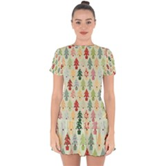 Christmas Tree Pattern Drop Hem Mini Chiffon Dress by Valentinaart