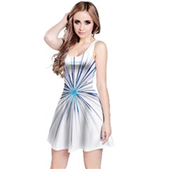 Fireworks Light Blue Space Happy New Year Reversible Sleeveless Dress