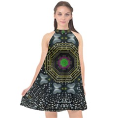 Leaf Earth And Heart Butterflies In The Universe Halter Neckline Chiffon Dress  by pepitasart