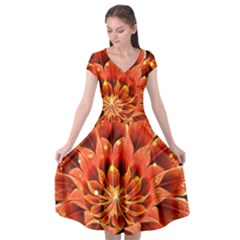 Beautiful Ruby Red Dahlia Fractal Lotus Flower Cap Sleeve Wrap Front Dress by jayaprime