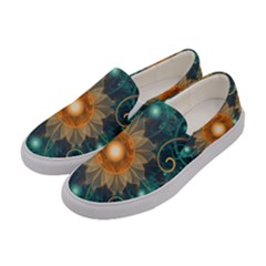Beautiful Tangerine Orange And Teal Lotus Fractals Women s Canvas Slip Ons by jayaprime