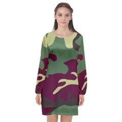 Camuflage Flag Green Purple Grey Long Sleeve Chiffon Shift Dress  by Mariart