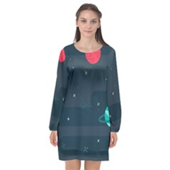 Space Pelanet Galaxy Comet Star Sky Blue Long Sleeve Chiffon Shift Dress  by Mariart
