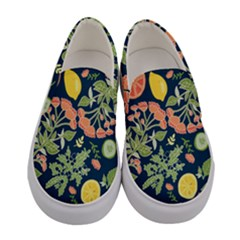 Summer Fruite Orange Lemmon Tomato Women s Canvas Slip Ons
