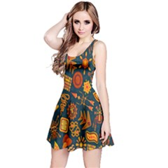 Tribal Ethnic Blue Gold Culture Reversible Sleeveless Dress