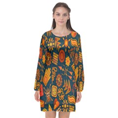 Tribal Ethnic Blue Gold Culture Long Sleeve Chiffon Shift Dress  by Mariart