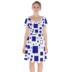 Blue Squares Textures Plaid Short Sleeve Bardot Dress by Alisyart