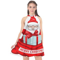 Merry Christmas Santa Claus Halter Neckline Chiffon Dress  by Alisyart