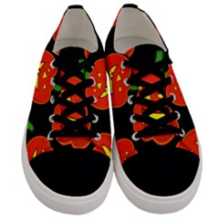 Halloween Party Pumpkins Face Smile Ghost Orange Black Men s Low Top Canvas Sneakers