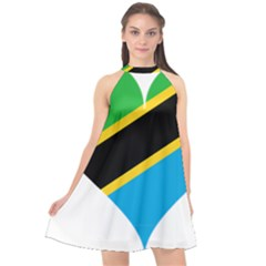 Heart Love Tanzania East Africa Halter Neckline Chiffon Dress  by Celenk