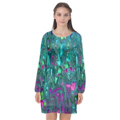Melted Fractal 1c Long Sleeve Chiffon Shift Dress  by MoreColorsinLife