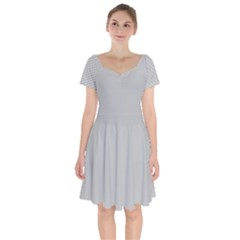 Grey And White Simulated Carbon Fiber Short Sleeve Bardot Dress by PodArtist