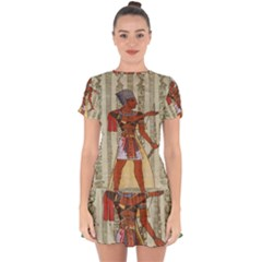 Egyptian Design Man Royal Drop Hem Mini Chiffon Dress by Celenk