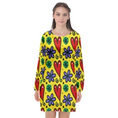 Seamless Tile Repeat Pattern Long Sleeve Chiffon Shift Dress  by Celenk