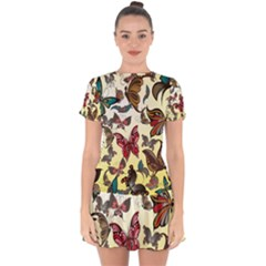 Colorful Butterflies Drop Hem Mini Chiffon Dress by allthingseveryone