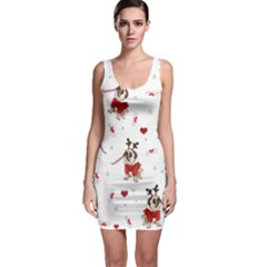 Pug Xmas Pattern Bodycon Dress by Valentinaart