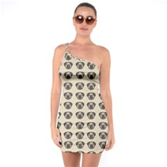 Puppy Dog Pug Pup Graphic One Soulder Bodycon Dress by Celenk