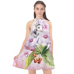 Wonderful Flowers, Soft Colors, Watercolor Halter Neckline Chiffon Dress  by FantasyWorld7