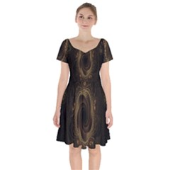 Beads Fractal Abstract Pattern Short Sleeve Bardot Dress by Celenk