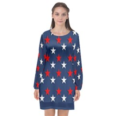 Patriotic Colors America Usa Red Long Sleeve Chiffon Shift Dress  by Celenk