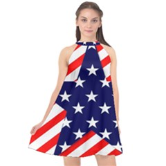 Patriotic Usa Stars Stripes Red Halter Neckline Chiffon Dress  by Celenk
