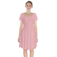 Sexy Red And White Polka Dot Short Sleeve Bardot Dress by PodArtist