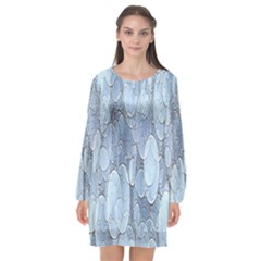 Bubbles Texture Blue Shades Long Sleeve Chiffon Shift Dress  by Celenk