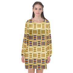 Textile Texture Fabric Material Long Sleeve Chiffon Shift Dress  by Celenk