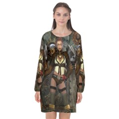 Steampunk, Steampunk Women With Clocks And Gears Long Sleeve Chiffon Shift Dress  by FantasyWorld7