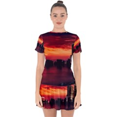 New York City Urban Skyline Harbor Drop Hem Mini Chiffon Dress by BangZart