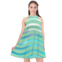 Abstract Digital Waves Background Halter Neckline Chiffon Dress  by BangZart