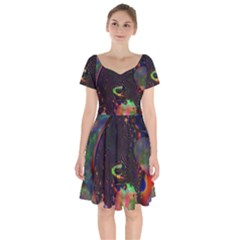 The Fourth Dimension Fractal Short Sleeve Bardot Dress by BangZart