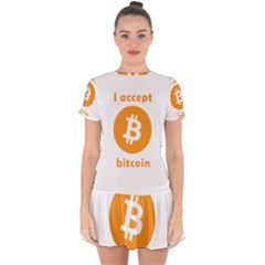 I Accept Bitcoin Drop Hem Mini Chiffon Dress by Valentinaart