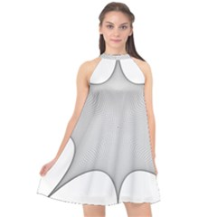Star Grid Curved Curved Star Woven Halter Neckline Chiffon Dress  by BangZart
