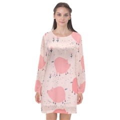 Pigs And Flowers Long Sleeve Chiffon Shift Dress  by allthingseveryday