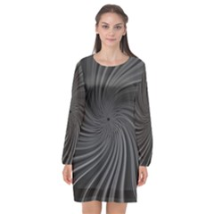 Abstract Art Color Design Lines Long Sleeve Chiffon Shift Dress  by Celenk