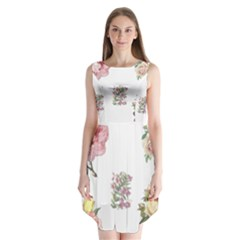 Rose Flowers Campanula Bellflower Sleeveless Chiffon Dress   by Celenk
