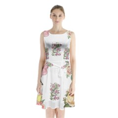 Rose Flowers Campanula Bellflower Sleeveless Waist Tie Chiffon Dress by Celenk
